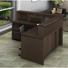 Office reception counter Luxury 5piece Espresso Office Reception Desk Collaboration Center3662 The Home Depot Home Depot 5piece Espresso Office Reception Desk Collaboration Center3662