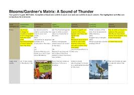 blooms gardners matrix for a sound of thunder blooms gardner s matrix a sound of thunder your goal is to gain 300 points