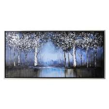 cobalt tree hand painted canvas wall art