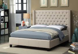 Meridian Ashton Beige Linen Queen Bed - Ashtonbeige-Q