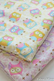 Pure Cotton Fabric FQ Cute Animal Pink Yellow Purple Owls 2 Colours