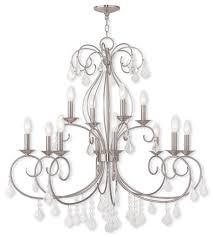 livex 50770 91 donatella 12 light 35 inch brushed nickel chandelier ceiling light