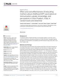 Pdf Effect And Cost Effectiveness Of Educating Mothers