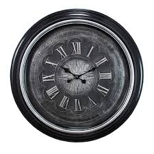 black silver wall clock with raised roman numerals view larger