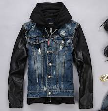 free 2016 spring and autumn fashion brand designer jackets leather sleeves jeans jacket mens hooded denim coats m l
