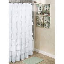 Incredible White Ruffled Extra Long Shower Curtain With Artwork Bathroom  Wall As Well As Grey Wall Painted In Contemporary Bathroom Ideas