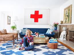 emily henderson in white and blue eclectic living room