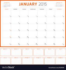 Calendar Planner 2015 Template Week Starts Sunday Vector Image