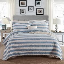 CHAUSUB Blue Stripe Quilt Set 1PCS/3PCS 100% Cotton Quilts Quilted ... & CHAUSUB Blue Stripe Quilt Set 1PCS/3PCS 100% Cotton Quilts Quilted  Bedspread Bed Cover Adamdwight.com