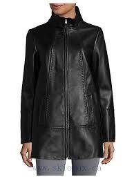 jones new york plus size zip front leather jacket long sleeves women coats black