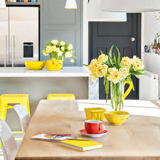Yellow And Grey Kitchen Smart Tones Of Grey Kitchen With Bright Yellow Accents Ideal Home