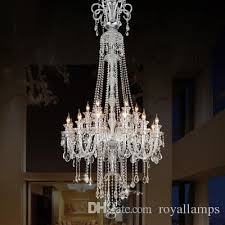 205cm long big chandelier e14 led lamps modern large luxury crystal chandeliers villa hotel dining room foyer light double layer 12 bulbs chandeliers black