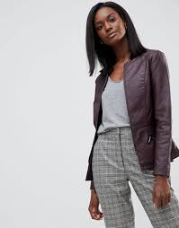 oasis faux leather collarless jacket brown women jackets 57 oasis jackets