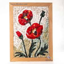 mosaic kit diy poppies stained glass