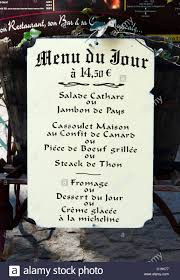 Menu Board For The Menu Du Jour Outside A Restaurant In The Medieval