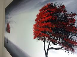 framed modern red tree oil painting canvas large abstract wall art inexpensive home decor
