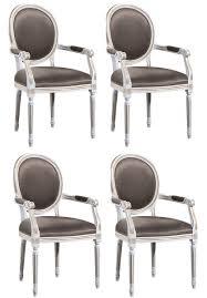 Casa Padrino Luxus Barock Esszimmer Set Weiß Gold Grau 59 X 43 5 X H 98 Cm 4 Esszimmerstühle Mit Armlehnen Esszimmermöbel
