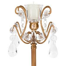 candelabra with glass crystals wedding centerpiece home decoration tea light and taper candle gold