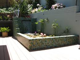 Decorations:Cool Mosaic Outdoor Accent Wall With Small Garden Pond On  Backyard Area Cool Mosaic