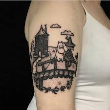 Blackwork Moomins Tattoo On The Right Upper Arm Arm Tattoos