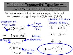 find an exponential function whose asymptote is y 0 and p through the points