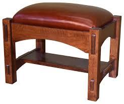 mission solid oak leather footstool ottoman craftsman footstools and ottomans by crafters and weavers