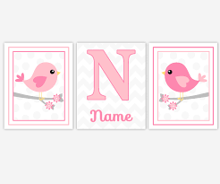 canvas prints for baby room. Baby Girls Canvas Nursery Wall Art Pink Gray Grey Birds Personalize Prints Decor For Room G
