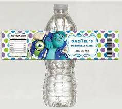waterbottle labels water bottle labels for birthday 5 monsters university birthday