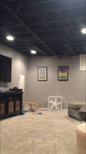 paint colot for exposed ceiling in basement sherwin williams caviar unfinished basement ideas x55 ideas