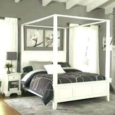Wood Canopy Beds Queen Bed White Size Frame Wooden In B Bali King ...