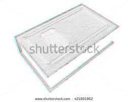leather book on a white background pencil drawing 3d ilration anaglyph view