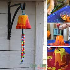 An easy-set-up kids craft idea - this garden wind chime will be