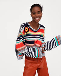 Design Workers Striped Crew Neck Sweater Hot Item Knit Sweater With A Round Neckline Contrasting Ribbed Trims