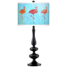 Giclee Gallery Flamingo Shade Giclee Paley Black Table Lamp