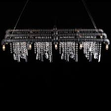 iron bar with crystal droplet vintage linear pendant chandelier 15 light