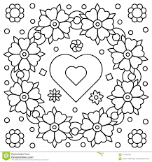 Spring Floral Outline Elegant Round Wreath Coloring Page In