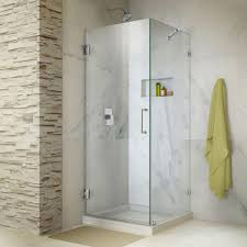 frameless corner hinged shower door in