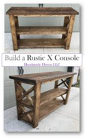 wood furniture blueprints. Step By How To : Rustic X Console - Free Plans Smashing DIY Handmade Haven (Diy House Furniture) Wood Furniture Blueprints