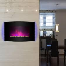 wall mount electric fireplace heater in black with curved tempered glass