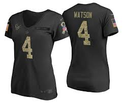 T-shirt Texans 4 Camo Black 2017 Watson Deshaun Service Salute Draft To