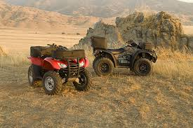 atv utility accessories honda powersports rancher and rincon shown soft rack bags and hard cargo boxes