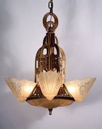 fantastic antique five light art deco slip shade chandelier by consolidated glass nc713 for