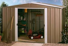 the arrow 10x10 metal shed model is a dark taupe color with eggshell white color roof and doors it offers 92 square feet of storage space with 55 5 wide
