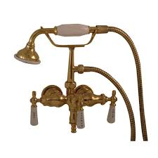 pegasus 3 handle claw foot tub faucet with old style spigot and hand shower in