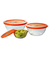 treo premium glass mixing bowl with lid set 0f 3 pc