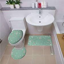 bath mat set round shaped toilet mat area rug toilet lid covers 3pcs aqua sketchy circles with hearts and abstract dots with turquoise backdrop image