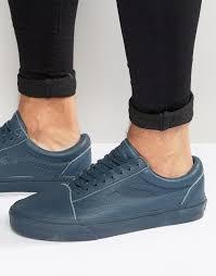vans old skool leather perf sneakers in blue va2xs6jx7