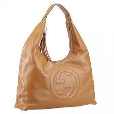 gucci soho interlocking logo motif flat single handle las large tan calfskin leather hobo bag