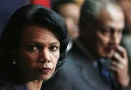 U.S. Secretary of State Condoleezza Rice (L) listens to a media question next to Egyptian Foreign Minister Ahmed Aboul Gheit during a news conference in ... - Condi032507
