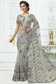 Grey Color Designer Blouse Designer Grey Color Embroidered Net Fabric Ethnic Wear Saree